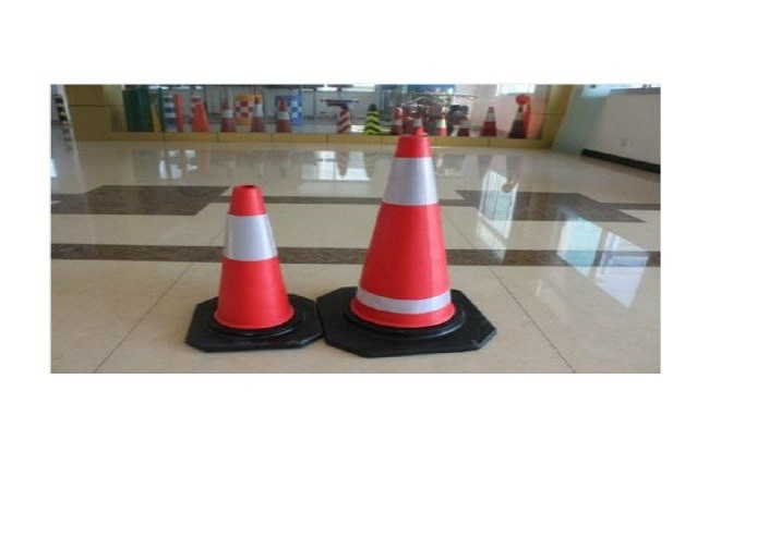 Red PVC Construction Safety Tools Traffic Rode Cones With Reflective Tape