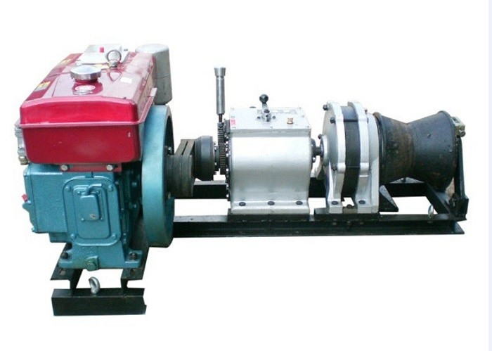 Small Volume 5 Ton Cable Winch Puller Diesel Engine Powered Winch With Belt Driven