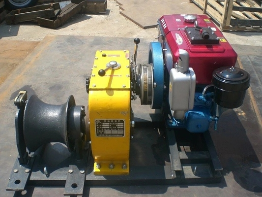 China Power Construction Diesel Cable Winch Hoist 80KN 8 Ton ISO Approved factory